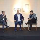 Arenhart, Finger e Goulart Júnior empresário interagiu com o público - Crédito: Priscila Rodrigues