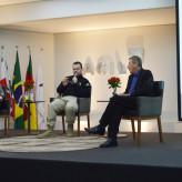 Aline, Reischak e Barth interagem com o público - Crédito: Priscila Rodrigues