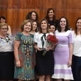 Aline com as deputadas da Assembleia Legislativa - Crédito: Vinicius Reis / Agência AL-RS / Divulgação